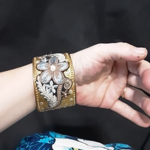 Vintage Jewelry - Vintage style embroidered bangle